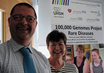 A photo from the 100,000 genomes project two year milestone celebration at the Manchester Centre for Genomic Medicine, focussing on rare diseases