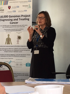 Professor Bronwynn Kerr discussing changes in the diagnosis and treatment of cancer brought about by the 100,000 genomes project, at the Manchester Centre for Genomic Medicine