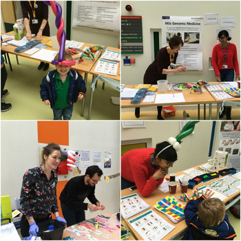 A patient engagement event, showing MCGM staff performing fun learning activities with young children